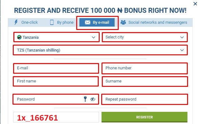 1xbet registration by email